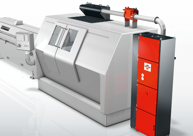 Stand-alone separator TR-1 ProVentPlus for a turning center, dust extraction by a ProChip detection device.