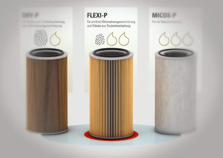 FLEXI-P reliably separates metal dust and shavings, as well as oil mist.